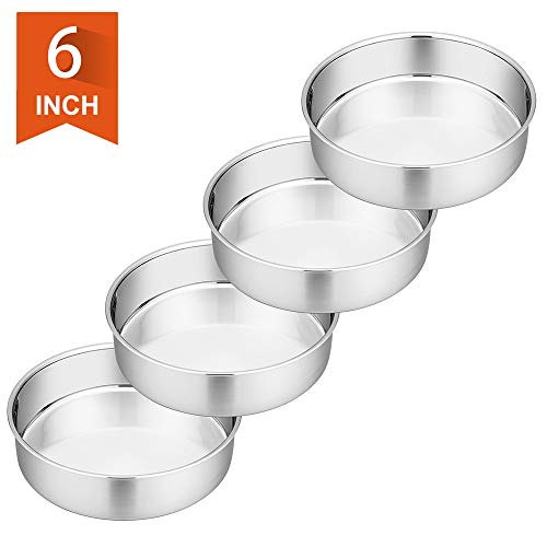 6 Inch Cake Pan, P&P CHEF 4-Piece Stainless Steel Round Baking Pans Layer Cake Pans Tin Set, Non Toxic & Healthy, Mirror Polished & Dishwasher Safe