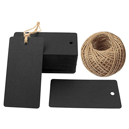 G2PLUS Gift Kraft Paper Tags 100 PCS Luggage Tags Labels 4.5 cm * 9 cm Labels with 30 Meters Jute Twine (Black)