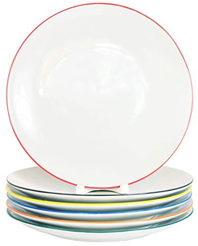 6 Stück Flache Coupteller im Set aus echtem Porzellan 200 mm mit einem Farbrand in 6 erfrischenden Farben Salatteller Dessertteller Frühstücksteller Tafelgeschirr für Gastronomie und Haushalt