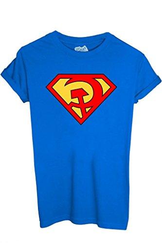 iMage T-Shirt Superman Comunista - Politic - Uomo-XL-Blu Royal