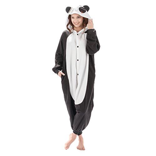 Emolly Fashion Adult Panda Animal Onesie Costume Pajamas for Adults and Teens (X-Large, Panda) Black/White