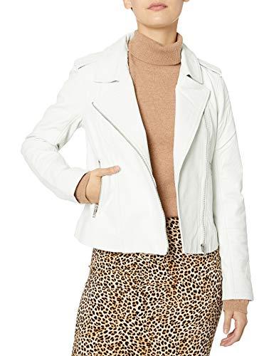 BB DAKOTA Damen hello moto washed leather jacket Lederjacke, weiß, Large