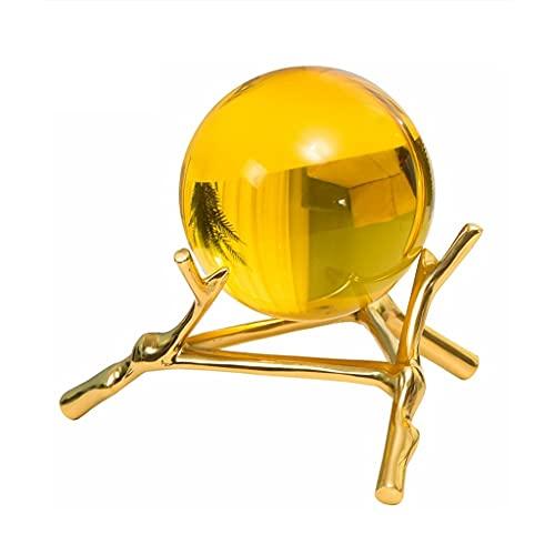 xuejuanshop Bola Cristal Luz de Lujo de Cobre Puro Creativo topacio de Bola de Cristal Adornos Sala de Estar TELEVISOR Adornos de Oficina de gabinete Decoraciones para el hogar Bola de Vidrio