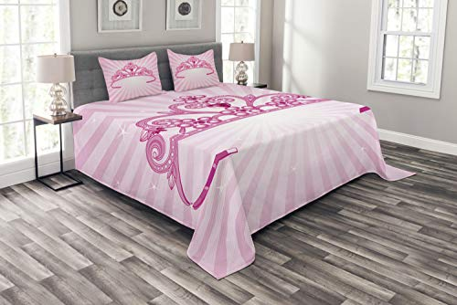 Lunarable Kinder-Bettwäsche-Set, Queen-Size-Größe, schöne glänzende rosa Feen-Prinzessin-Kostüm, Krone mit Diamant-Figuren, Mädchen-Druck, 3-teiliges Tagesdecken-Set mit 2 Kissenbezügen, Pink Fuchsia