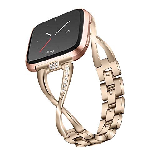 TechCode Versa 2 Watch Bands, Stainless Steel Band Metal Wristband X-Link Watch Strap Jewelry Metal Wristband Bracelet Replacement Accessoriy for Fitbit Versa/Versa 2/Versa Lite (Light Gold)