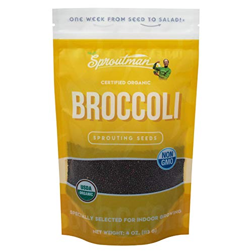 Sproutman 4oz Organic Broccoli Sprouting Seed - Broccoli Seeds for Sprouting, High Germination, Non-GMO, Certified Organic