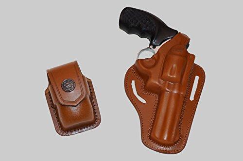 ALIS30537 2 Slot Pancake Leather Holster Thumb Break RH & Speedloader Case Fits 357 Magnum Handmade! (Brown)