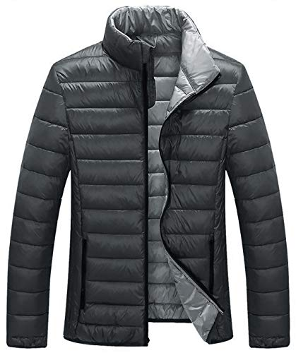 ZSHOW Men's Packable Winter Down Coat Lightweight Outerwear Jacket(Dark Grey,Large)