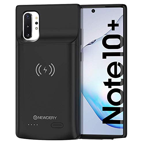 NEWDERY Galaxy Note 10 Plus Battery Case, 6000mAh Extended Qi Wireless Charging Case, Portable Backup Battery Charger Case Compatible with Samsung Galaxy Note 10 Plus 6.8 inches