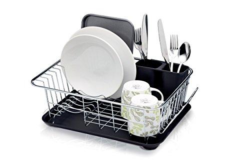 KitchenCraft Abtropfständer, verchromter Edelstahl, erhöhtes Drahtgestell, Abtropftablett mit Abfluss, einhängbarer Besteckbehälter mit Abflusslöchern, viel Stauraum, 42cm x 30.5cm x 15.5cm