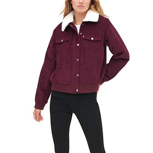 Levi's Women's The Amanda Corduroy Fur Collar Trucker Bomber Jacket, Burgundy/Cream, Small