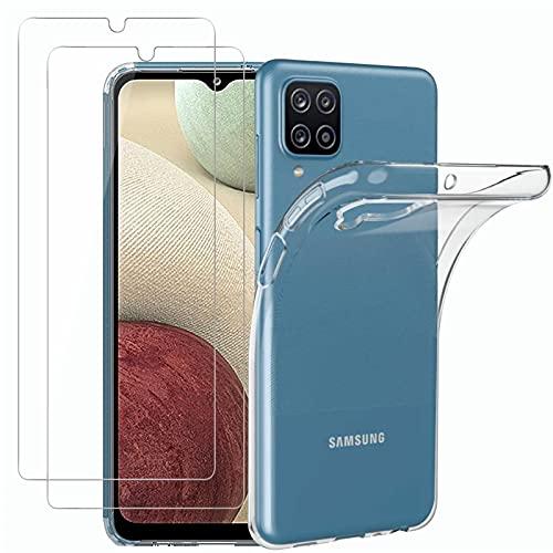 NEW'C Cover per Samsung Galaxy A12 Gel TPU in silicone ultra trasparente e 2 × vetro temperato per Samsung Galaxy A12, Pellicola proteggi schermo