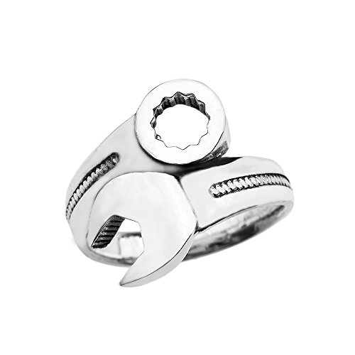 Men's Fine Jewelry Mechanic Wrench Sterling Silver Ring (Size 9)