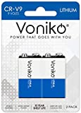 VONIKO Lithium Batteries 9 Volt 2 Pack – 9V Lithium Batteries – Long Life Smoke Detector Batteries 10 Years Shelf Life - 9 Volt Battery for Smoke Alarms and Medical Equipment