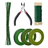 Pengxiaomei Floral Arrangement Kit, Floral Tapes & Wraps Floral Wire Cutter Green Floral Tape 22 Guage Floral Stem Wire 26 Gauge Green Floral Wire for Bouquet Stem Wrap Florist, Wreath Making Supplies