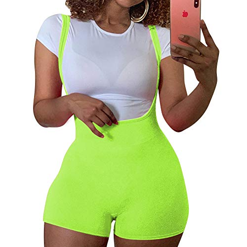 LuFeng Women Sexy Backless Bodycon Spaghetti Strap Shorts Pants Jumpsuit Green