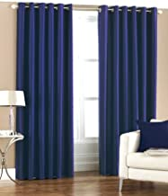 Homefab India's Set of 2 Royal Silky Navy Blue Door Curtains(HF049) 7X4ft.