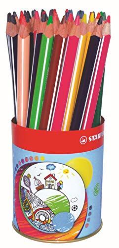 Crayon de coloriage - STABILO Trio - Godet 38 crayons de couleur triangulaires - 12 couleurs assorties