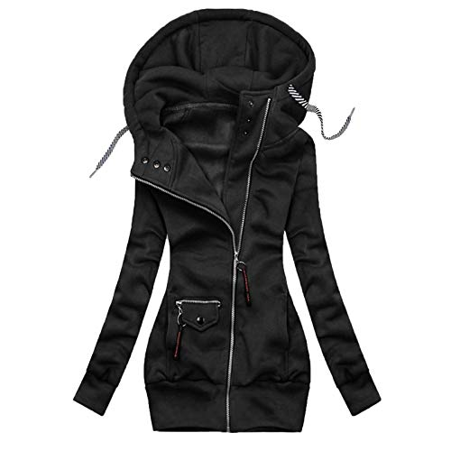 Hoodie Damen Kapuzenpullover Langarm Hooded Sweatshirts Jackenmantel Solid Stitching Drawstring Hooded Slim Fashion Outwear (L,Schwarz)