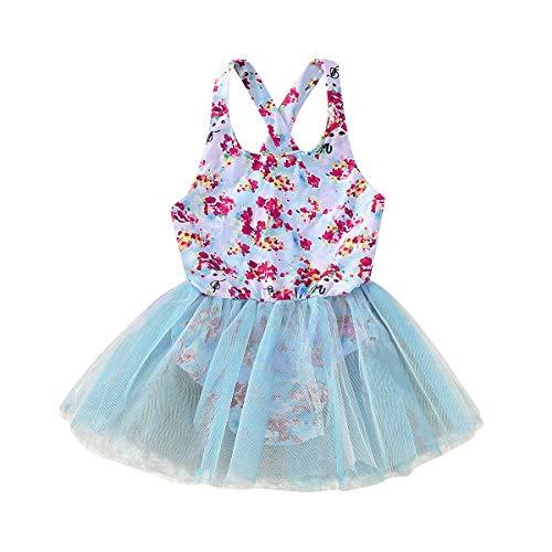 Tianhaik Kids Baby Meisje Mesh Bloemen Jurken Backless Sundress Monokini Badpak