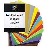 OfficeTree Tonkarton A4 Bunt - 54 Blatt - Bastelkarton Bunt 220g/m² - 10 Farben - Fotokarton A4 Bunt zum Basteln und Gestalten - Plus 2 Gold- und 2 Silberbögen mit 130g/m²