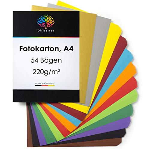 OfficeTree 54 x A4 Carta Colorata 220 g - Cartoncini Colorati per lavoretti - 10 Colori Vivaci più 4 x Fogli Oro e Argento di 130 g