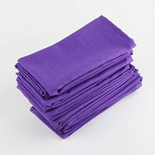 12 trozos de Tela de algodón 40x40cm servilletas de Lino servilletas Mantel Mesa for niños servilletas de Mesa de Comedor Suave Estera de Tela Servilleta XZZ (Color : 12 CJ006 4040Purple)