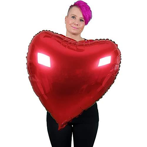 DIWULI, XXL Herzballon, Luftballon in Herzform, Herz-Ballon rot, Herzluftballon, Herzfolienballon, Folien-Luftballon, roter Folien-Ballon für Geburtstag, Hochzeit, Verlobung, Dekoration, Liebe, Love