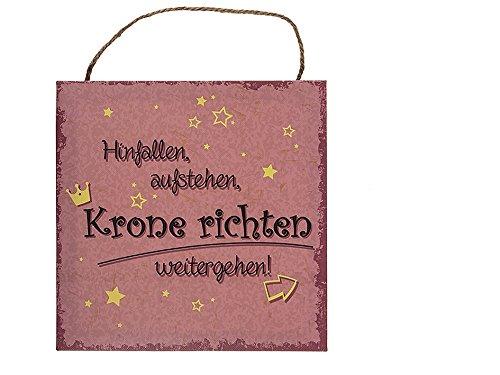 hibuy Schild mit Spruch, Hinfallen, Aufstehen, Krone..., Papier auf Holzrahmen, ca. 20 x 20 cm