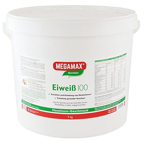 MEGAMAX - Eiweiss - Proteínas de suero de leche y proteínas lácteas - Crecimiento muscular y dieta - Valor biológico aprox. 100 - Avellana - 5 kg
