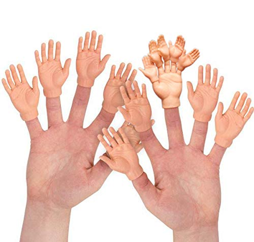 10pcs Finger Hands Finger Puppets with 5pcs Finger Hands For Finger Hands | Soft Vinyl Finger Puppets | Sarcastic Toys for a Crazy Game Night with Friends! Assorted Tone (Black, Tan or White)