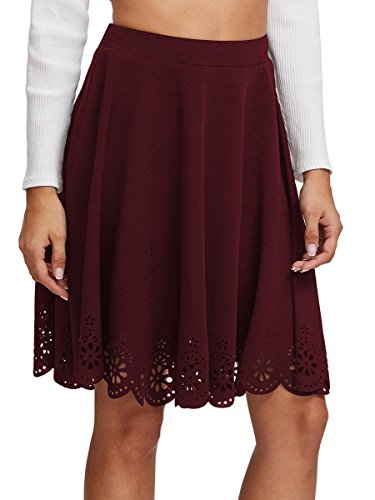 SheIn Women's Basic Stretchy Scallop Hem A Line Skirt Medium Burgundy#
