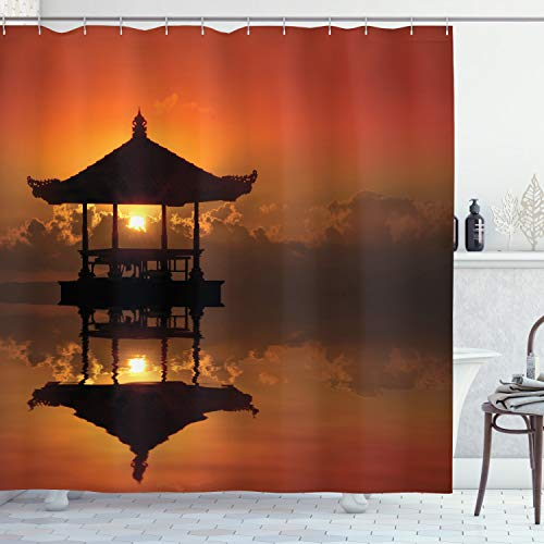 """Ambesonne Balinese Shower Curtain, Sunset in Bali Beach in The Bungalow Reflection of a House and Horizon Summer Cloudscape Artwork, Cloth Fabric Bathroom Decor Set with Hooks, 70"""" Long, Brown Orange"""