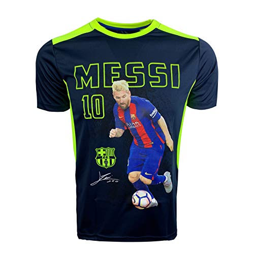 Lionel Messi Photo Poly Shirt, Barcelona Leo Messi T-Shirt (Youth X-Large 13-15 Years) Black