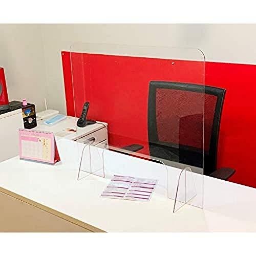 Mampara de protección con Ventana - Mostrador, oficina, comercio, restaurante - Metacrilato transparente - 65x67cm