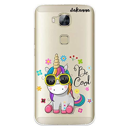 dakanna Funda para Huawei G8 - GX8 | Unicornio con Gafas Frase: Be Cool | Carcasa de Gel Silicona Flexible | Fondo Transparente