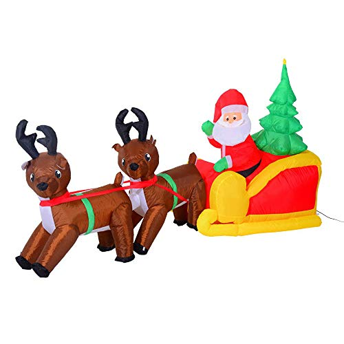 ZNN Christmas Inflatable Decoration - 2.1M Led Lights Christmas Santa Claus and Reindeer Lawn Yard Decoration, Easy to Install, Suitable for Indoor and Outdoor