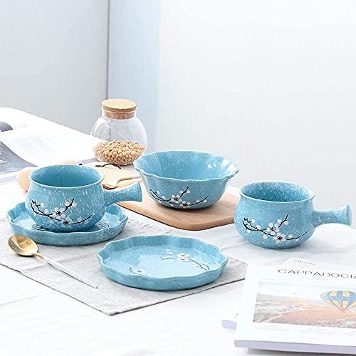 Juego de platos, Conjunto de placas de desayuno de cerámica, vajilla de desayuno japonesa de 5 piezas Juego de vajillas de desayuno japonés con placa de tazón de fuente, servicio para 1, gran regalo p