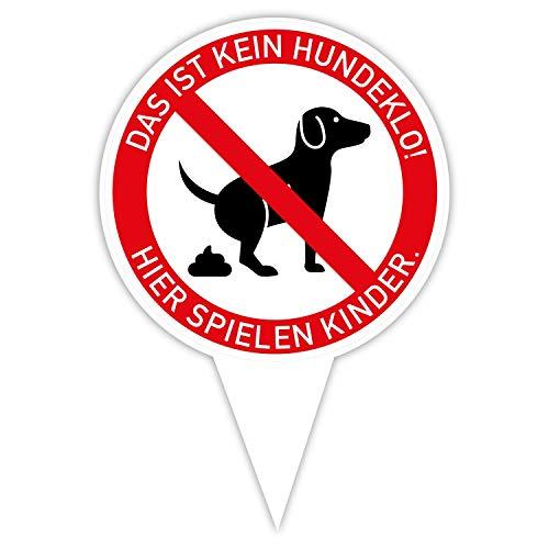 Steckschild Kein Hundeklo! Hier Spielen Kinder I Alu-Verbund 16 x 24,5 cm I Keine Hundetoilette, Hunde koten verboten I hin_382