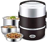 LHQ-HQ El almuerzo portátil caja eléctrica, 3 capas del calentador de alimentos, con extraíble de acero inoxidable 304 Recipiente Cuenco y placa, vaporera for Office y Home FEOPW