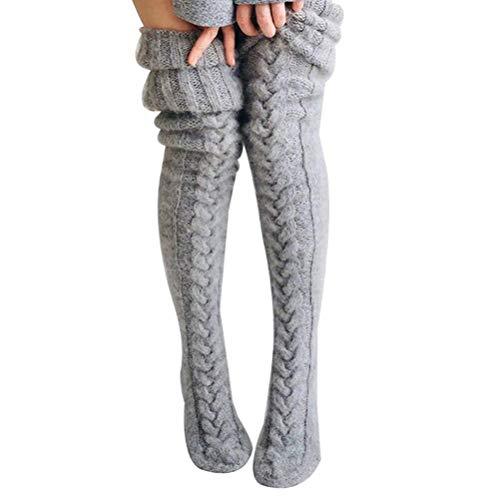 Calcetines de invierno para mujeres y niñas, con cable de punto por encima de la rodilla, calcetines extra largos, calentadores de piernas para mujeres y niñas