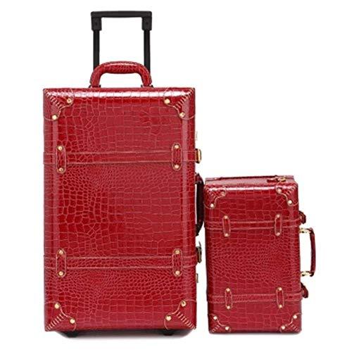 MJY Bolsa de viaje de cabina vintage de 20 pulgadas Bolsas de hombro Conjunto de equipaje con ruedas retro Rueda Mujer Contraseña Maleta Ruedas Trolley,Wine a Set,22 '