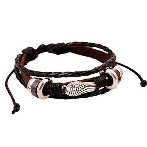 aiuin pulsera alas de múltiples capas retro pulsera de cuero de vaca con cuentas trenzado cuerda de cuentas pulsera brazalete para hombres mujeres X 1pieza
