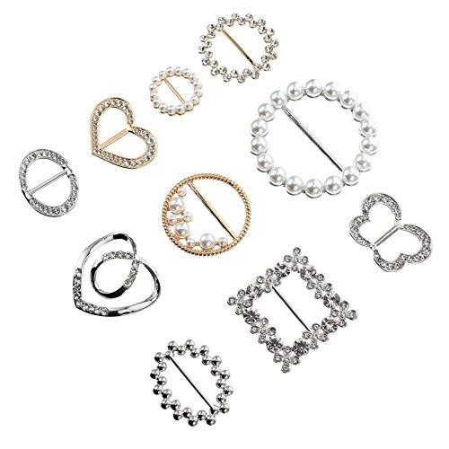 PRETYZOOM 10 Piezas Bufandas de Diamantes de Imitación Hebilla Bufanda de Metal...