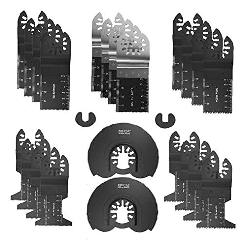 Sierra oscilante Herramienta Madera Metal oscilante multiherramienta de liberación rápida para madera y metal de corte de liberación rápida Negro 24PCS