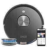 ZACO - robot aspirateur A10, WiFi, connecté Alexa, Google et appli - robot autonome intelligent 3 en 1, navigation 3D laser 360° - nettoyeur lavant sans fil pour sols durs, tapis et poil animaux