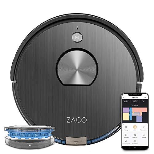 ZACO A10 Saugroboter mit Wischfunktion (Neuheit 2021), 360° Laser-Navigation, Alexa & Google Home Steuerung, Mapping, No-Go-Zonen, Timer, für Hartböden & Teppich, bis 2 Std saugen oder wischen, Grey