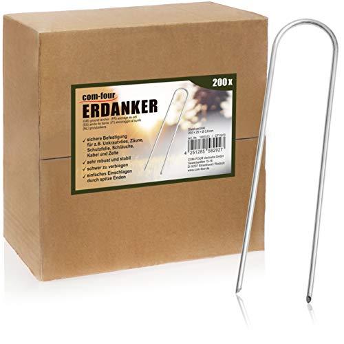 com-four® 200x Grapa de Suelo galvanizada - para la fijación de vellones y láminas de malezas - para jardín y Camping (200 Piezas - 200x25x3.8mm)