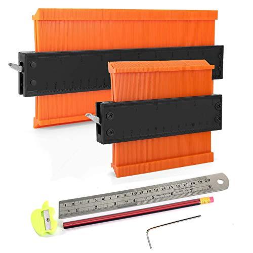 Konturenlehre groß mit Feststeller 2er Set, KASZOO Magic Kontur Werkzeug Konturmessgerät mit Aluminium Feststeller und Kern, für Unregelmäßiges Profil, Fliesen uvm, Teppiche und Laminat(25cm+12cm)
