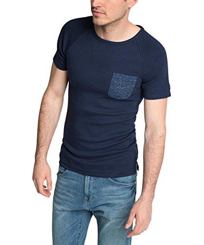 Esprit 056EE2K062-Full Needle-Slim Fit T-Shirt, Bleu-Bleu Marine, Large Homme